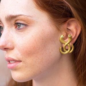 Gold snake statement earrings from Mykonos